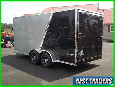 2015 look 7x16 vision silver and black 2 tone enclosed motorcycle trailer cargo