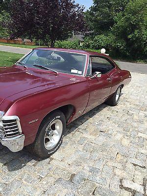 Chevrolet : Impala 1967 chevy impala 454 big block 2 door hardtop maroon, 2