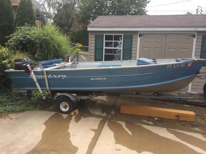 Boat with Yamaha Motor, trolling motor, trailer