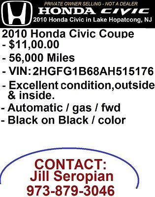 Honda : Civic 2010 honda civic 56 000 miles great condition well maintained 11 000