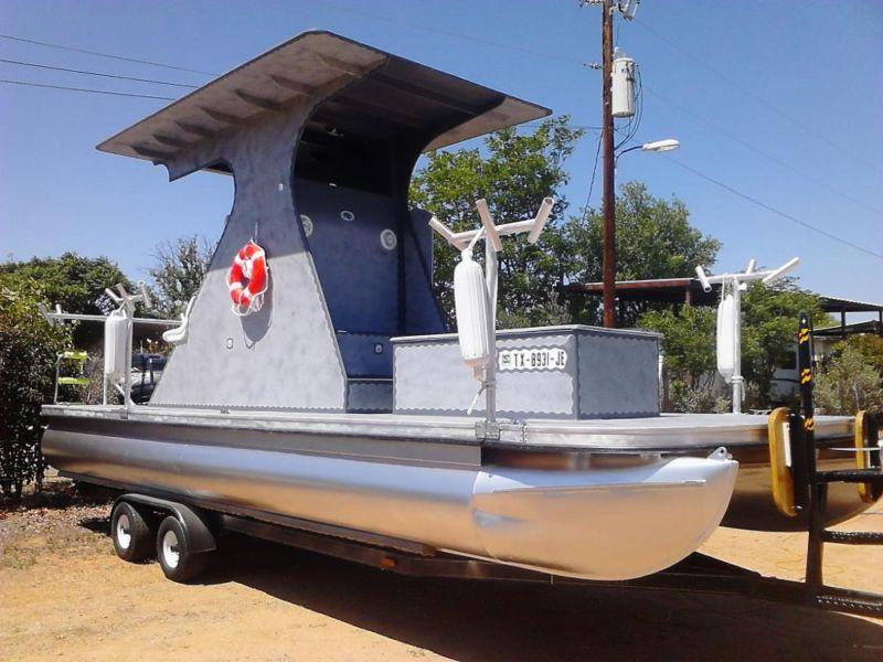 completely restord custom fiberglass pontoon boat
