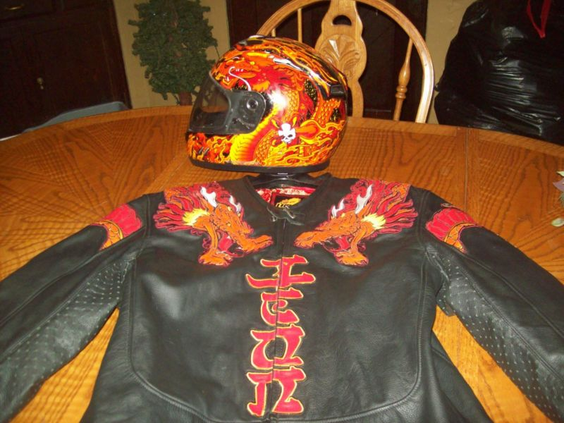 Icon Leather Dragon Jacket is LIKE NEW & matching helment
