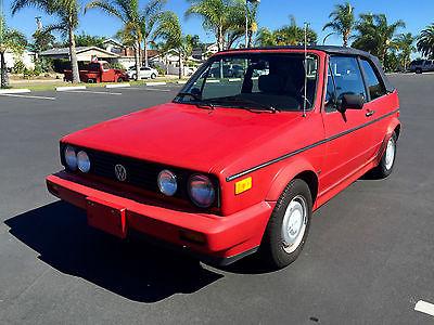 Volkswagen : Cabrio Convertible RED California RUST FREE 5spd 1988 volkswagen rabbit cabriolet 2 dr convertible red california rust free 5 spd