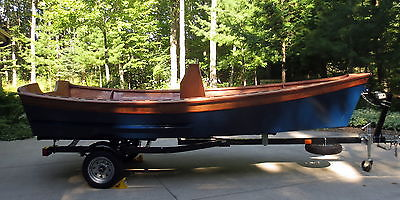Chesapeake Light Craft Peeler Skiff custom built wooden kit boat and trailer