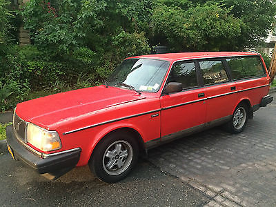 Volvo : 240 DL 1990 volvo 240 dl wagon red with blue interior