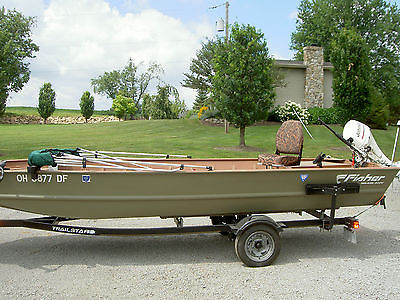 Fisher 18' jon boat and Johnson 9.9 motor