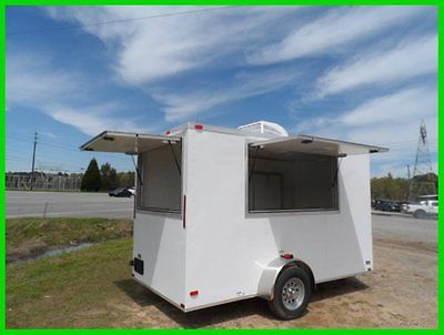2015 v nose 6x12 enclosed cargo concession trailer 2 3x6 window New w A/C e pkg