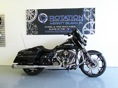Harley-Davidson : Touring 2015 street glide vivid black 8 miles 9 k custom parts 21 wheel arlen ness parts