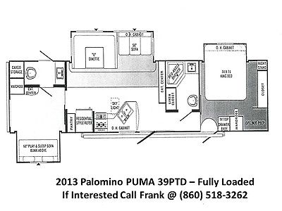 2013 Palomino Puma 39PTD Travel Trailer with 3 slides & 1.5 baths like new 39'