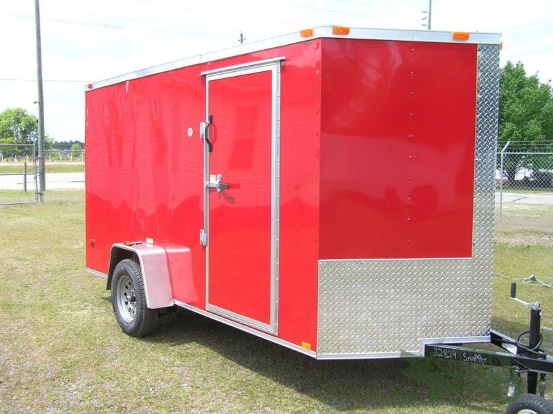 6 foot by12 foot Red Ext Enclosed Trailer w/Side Door & Extra Height