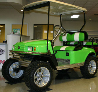 2012 Ez-Go Custom Monster Lime Green Electric Lifted Golf Cart