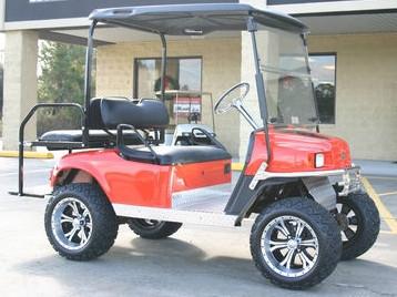 2012 E-Z-Go Lifted Orange 36 Volt Electric Golf Cart