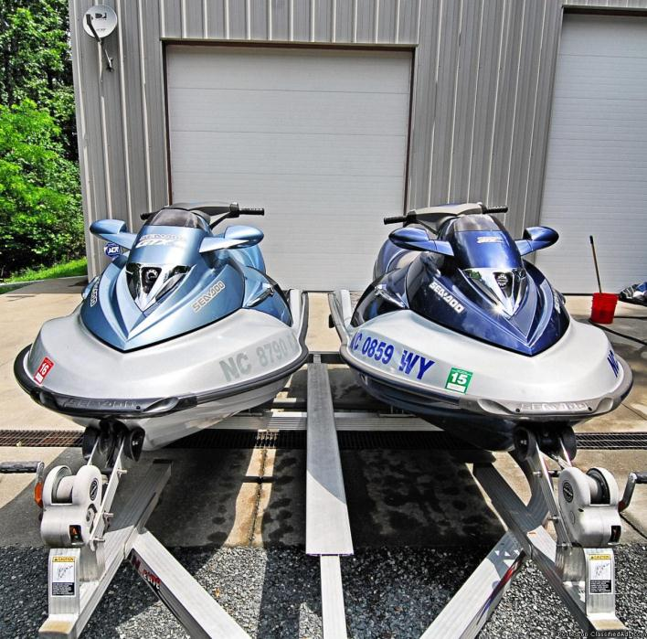 Two Luxury 2004 SeaDoo GTX Supercharged Jet Skis with Trailer