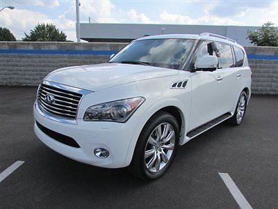 Infiniti : QX56 4WD 4dr 7-passenger 4 wd 4 dr 7 passenger low miles suv automatic gasoline 5.6 l 8 cyl white