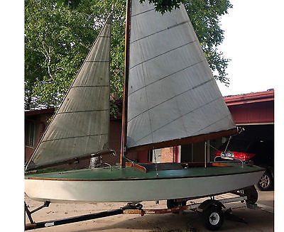1940's 16' Wooden X Class Sailboat with Trailer