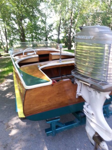 1957 Dunphy 14ft wood boat,Mark 75 mark Marathon,