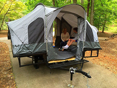 Folding Camper Tent & Utility ATV Trailer Motorcycle Camp Camping Popup Pop Up