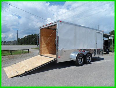 7 x 16 2ftv 18ft inside enclosed cargo motorcycle white bike trailer New 16ft