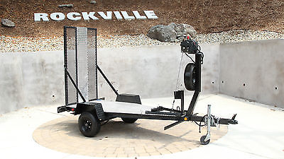GLADIATOR Single Rail Motorcycle Trailer with electric winch & diamond plate