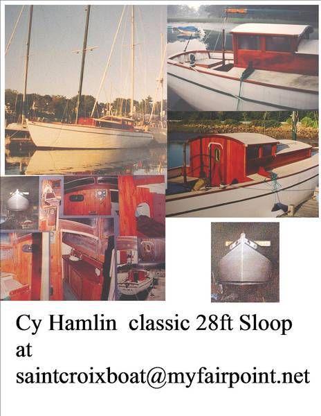 antique classic boat Cy Hamlin Sloop 28 ft