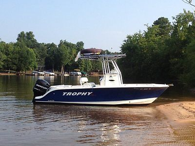 21 Ft Dark Blue Hull Trophy Pro  Center Console Fishing Boat, Fully Equipped