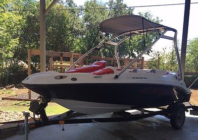 2011 SEADOO 150 Speedster Jet Boat, Red, 155HP, 80HR, Ski Tower, Bimini