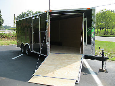 New 2016 8.5x16 V-NOSE Enclosed Trailer with 2 Ramps