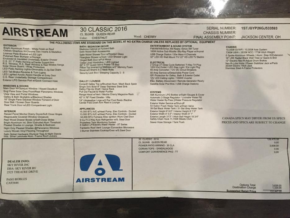 2016 Airstream Classic CLASSIC 30