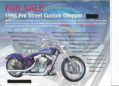 Custom Built Motorcycles : Chopper 1998 pro street custom chopper