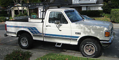 Ford : F-150 XLT Lariat Standard Cab Pickup 2-Door 1990 ford f 150 xlt lariat 4 x 4 5.0 l v 8 with kargo master ladder rack white