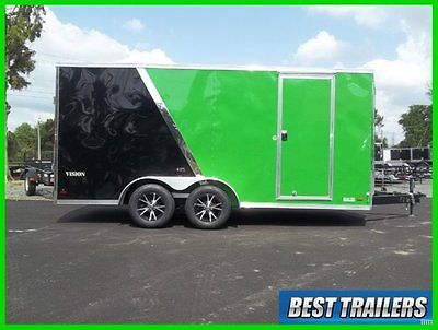 extra tall 7x16 Vision Arctic cat green enclosed motorcycle atv or utv trailer