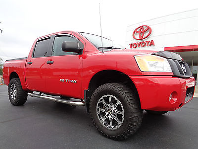 Nissan : Titan Crew Cab 5.6L V8 4x4 Red Alert Paint Lift Wheels 2012 titan crew cab 5.6 l v 8 4 x 4 mickey thompson tires outlaw wheels 1 owner 4 wd