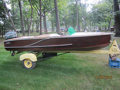 1954 Wood Boat 16' Wagemaker Wolverine 25 Hp Johnson Motor Tee Nee Trailer
