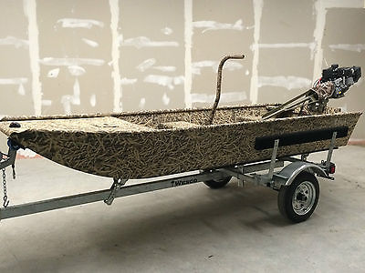 Low Country Backwater 1236 camo custom flat bottom w/ Beavertail 6.5HP & trailer
