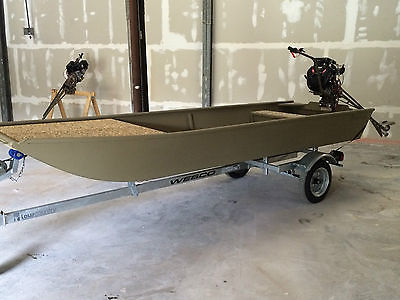 Low Country Backwater 1442 custom flat bottom w/ Beavertail 13HP & trailer