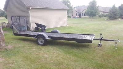 Steel Inline In Line ATV Utility Trailer Haul 18' Used Wood Bed LED lights UTV