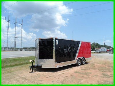 16 car hauler v nose 8.5x20 advanced slant motorcycle enclosed cargo trailer New