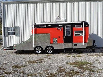 Toy hauler harley davidson motorcycle camper vintage trailer Black orange custom