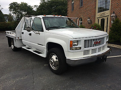 GMC : Sierra 3500 SLT 1996 gmc sierra 3500 hd crew cab aluminum flatbed 454 big block 5 speed clean