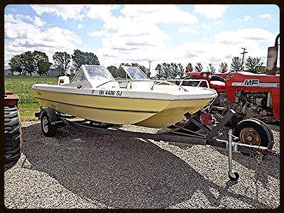 1975 Renken Open Bow Runabout Boat Fiberglass Johnson Engine Motor 17' WMS Wood