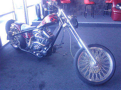 Custom Built Motorcycles : Chopper Custom Hardtail chopper, 125ci Revtech engine, 6 spd, black/red,