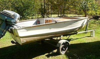 Antique Blue Grass Aluminum Runabout Style fishing boat with Evinrude 15HP motor