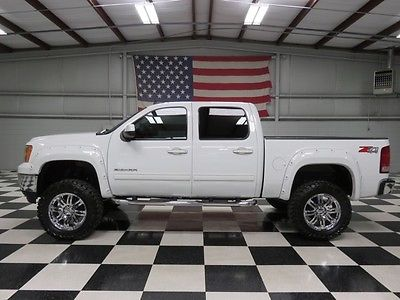 GMC : Sierra 1500 SLE 4x4 Lifted 1 owner white crew cab 5.3 l warranty financing 6 lift chrome 20 s cloth extra s