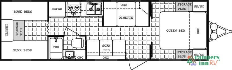290d 2003 Dutchmen Sport Lite Travel Trailer Floor Plan - 0425