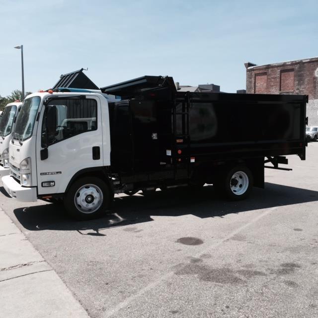 2015 Isuzu Nprhd 12ftlandscape Dumpw/Backpack  Dump Truck