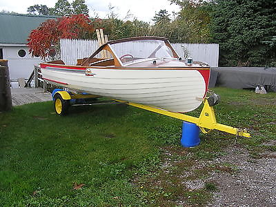 1957 SORG WOODEN/WOOD RUNABOUT 15' BOAT VERY NICE W/TEE NEE TRAILER