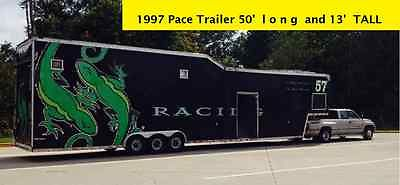 A 53' LONG and 13' TALL PaceTrailer / Aluminum/ Enclosed/ Car Hauler