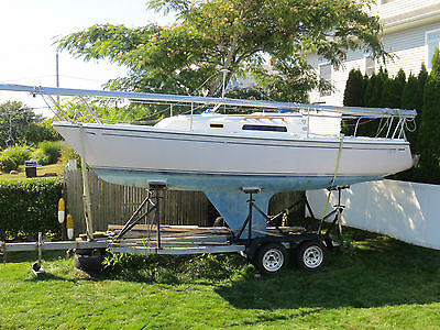 984 CAL 24' Sailboat Galvanized Tandem Trailer Johnson Outboard Motor Must See