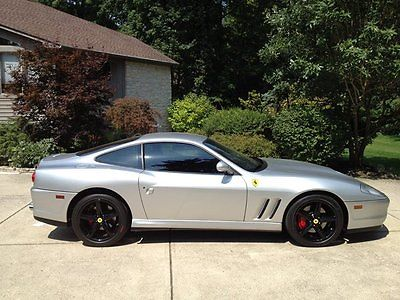 Ferrari : 575 m 2002 ferrari 575 maranello f 1 silver well serviced awesome car black wheels