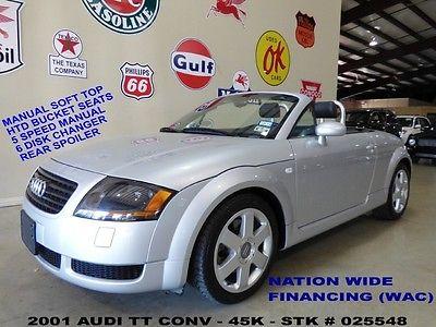 Audi : TT Convertible 2001 tt conv fwd 1.8 t 5 spd trans htd lth 6 disk cd 17 in whls 45 k we finance